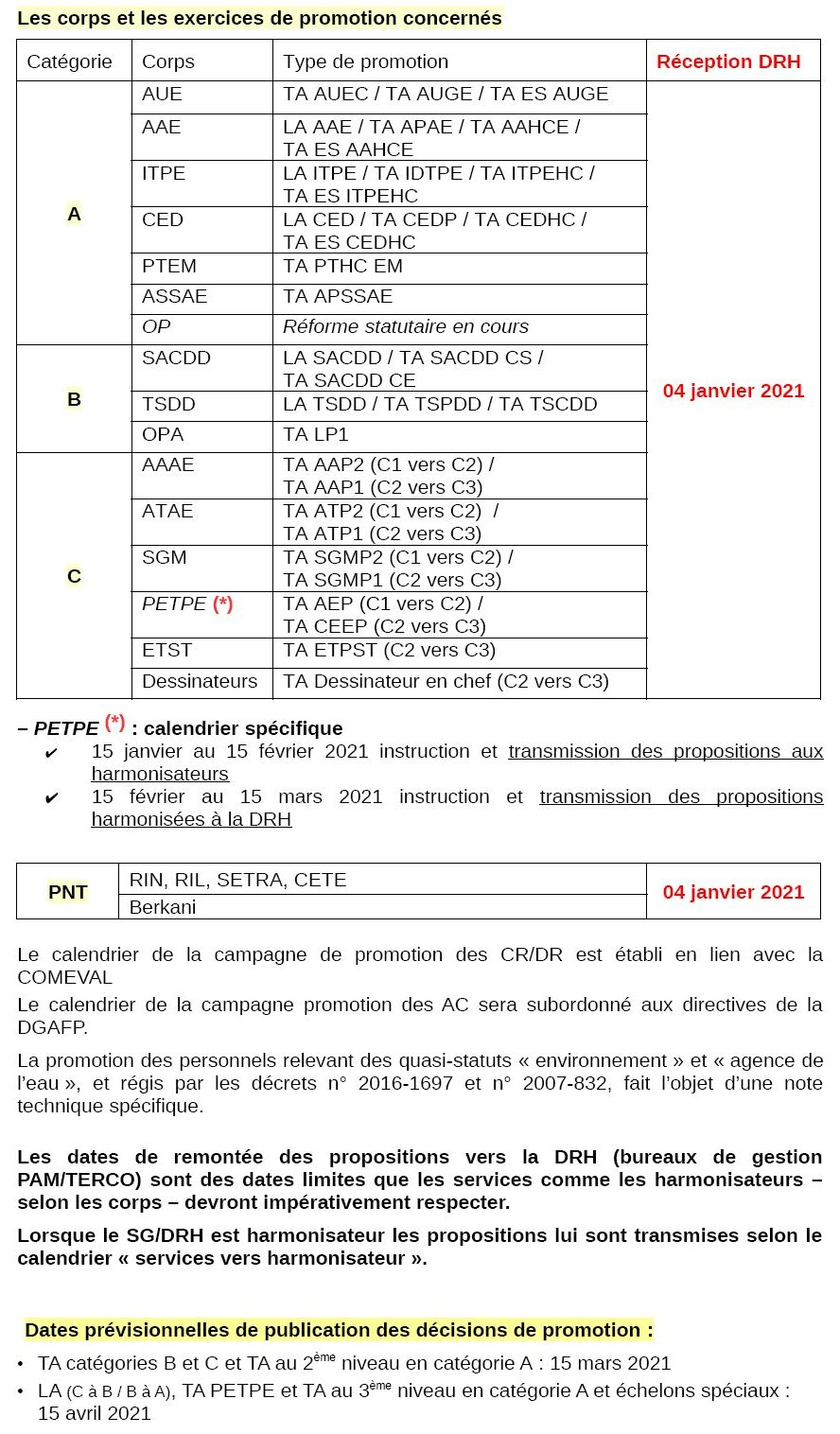 PROMOTIONS 2021 : Modification du calendrier de mise en œuvre (09