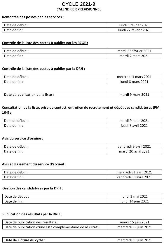 Cycle de mobilité 2021 9 – Calendrier prévisionnel   CFDT UFETAM